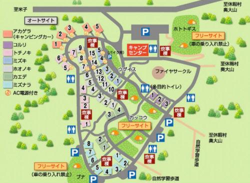 休暇村奥大山鏡ヶ成キャンプ場の場内マップ