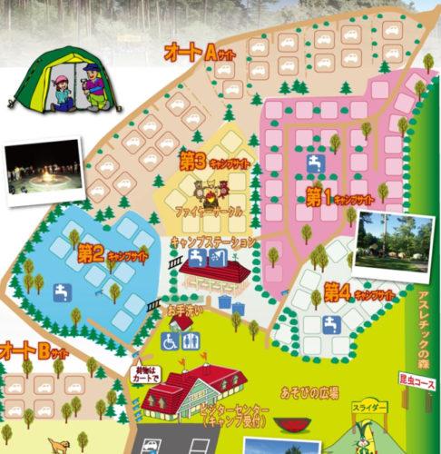 大山森の国キャンプ場の場内マップ