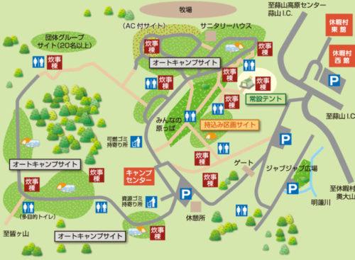 蒜山高原キャンプ場の場内マップ