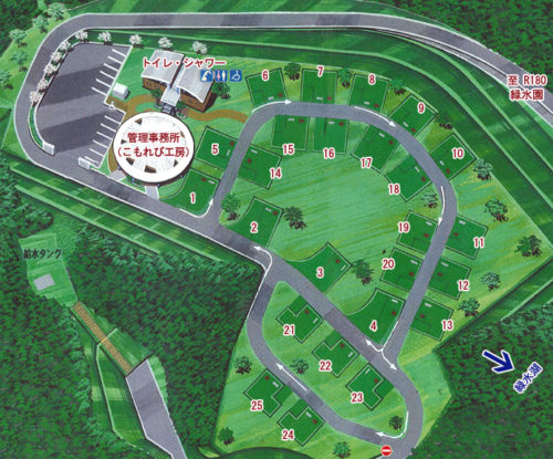 緑水湖オートキャンプ場の場内マップ