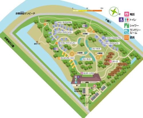 赤穂海浜公園オートキャンプ場の場内マップ