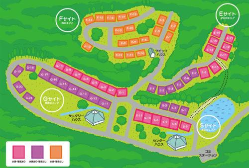 フォレストステーション波賀東山オートキャンプ場の場内マップ
