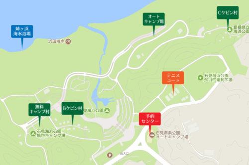 石見海浜公園オートキャンプ場の場内マップ1