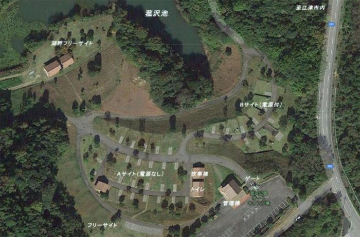 菰沢公園オートキャンプ場の場内マップ