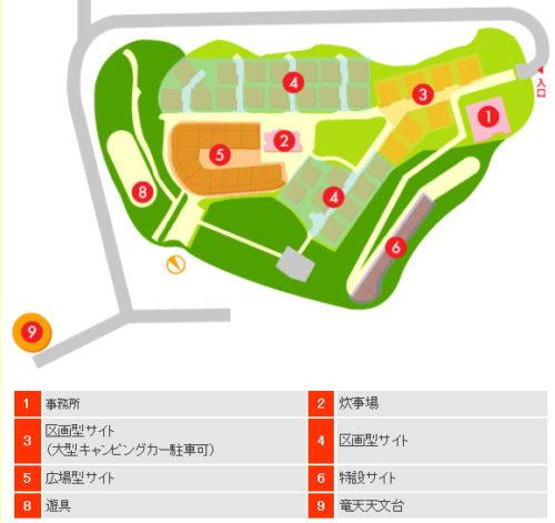 吉井竜天オートキャンプ場の場内マップ