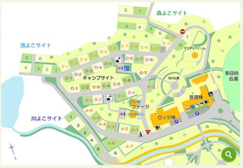 日時計の丘公園オートキャンプ場の場内マップ