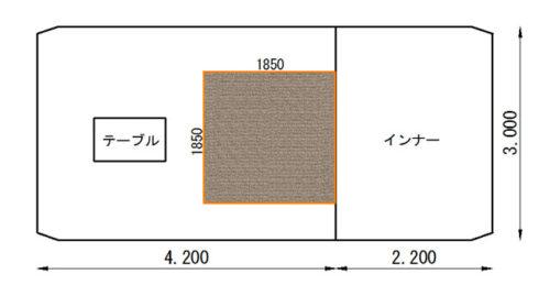 カマボコテント2で使うラグのサイズを検討してみました