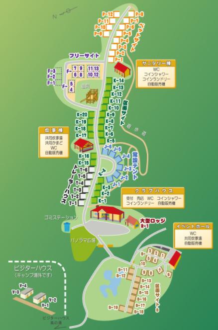 大佐山オートキャンプ場の場内マップ