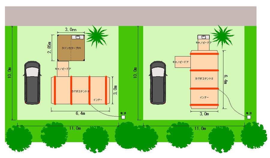 ツールームテントのオートキャンプサイトレイアウト図を考える