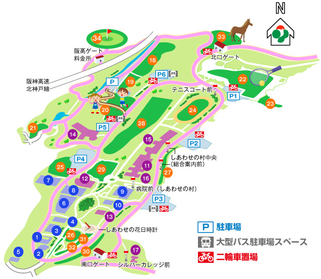 しあわせの村オートキャンプ場の場内マップ