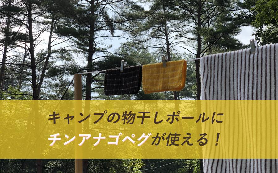 キャンプの洗濯物干しポールにチンアナゴペグが使える